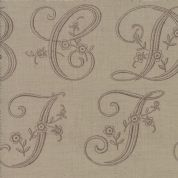 Moda Madam Rouge by French General - 5689 - Stylised Letters on Beige - 13772 14 - Cotton Fabric